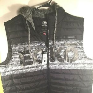 Ecko Unltd Vest Jacket Mens XL Black Hooded Puffer